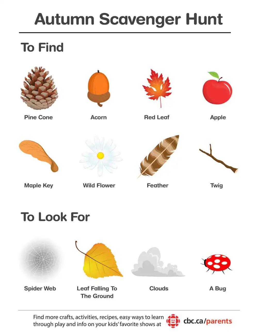 Printable Autumn Scavenger Hunt Play CBC Parents