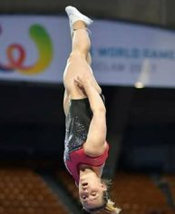 Capturing a silver medal at the World Games was a career-high for Canadian trampoline athlete Tamara O'Brien. (International Gymnastics Federation)
