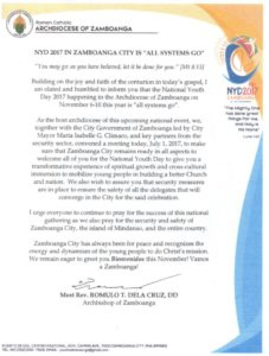 2017 National Youth Day Invitation Sangguniang Laiko Ng