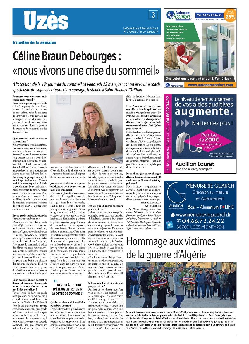 Article Républicain d'Uzès et du Gard sur Céline Braun Debourges