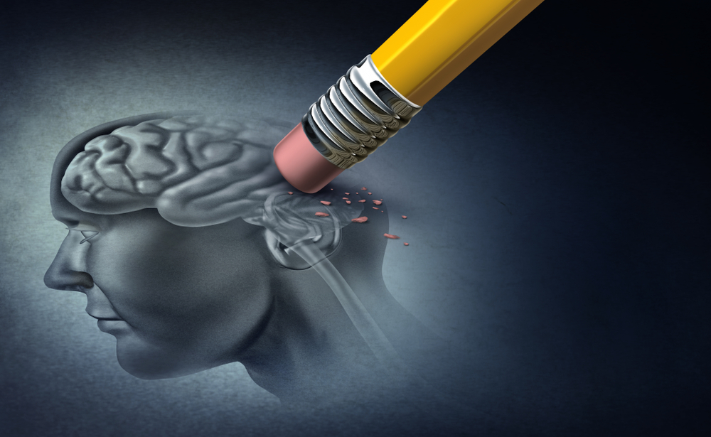 a pencil erasing the image of a human brain