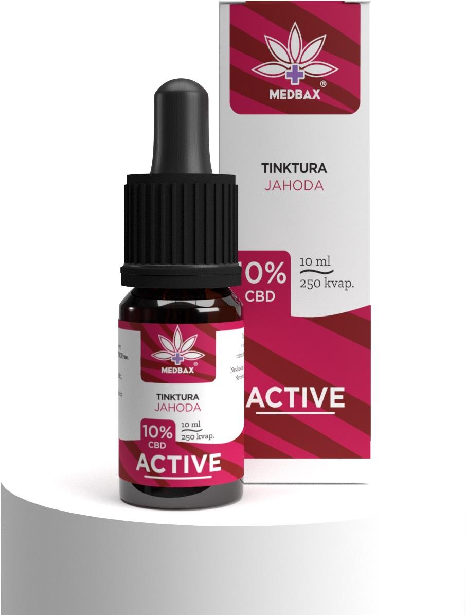 CBD olej/kvapky MedBax, 10 %, príchuť jahoda