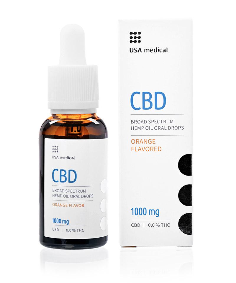 CBD olej/kvapky USA medical, 1 000 mg