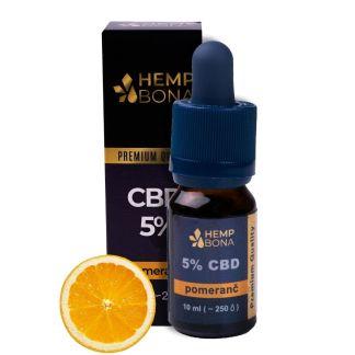 CBD kvapky HempBona, 5 %, príchuť Pomaranč, 10ml