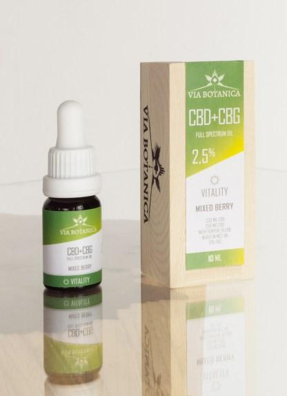 CBD + CBG kvapky Vitality Via Botanica, 2,5 % + 2,5 %, 10ml