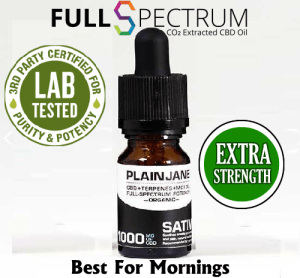 1000mg Extra Strength CBD Oil Full Spectrum Plain Jane Sativa Best for Mornings