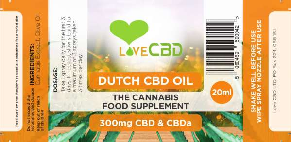 Love CBD Dutch CBD Spray Label
