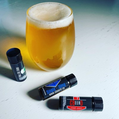Picture of CBeerD 30mg and 60mg and 100mg strengths with a delicious CBD-infused pale ale beer