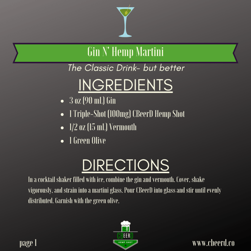 CBeerdD Hemp N' Gin Martini Recipe infused with CBD Vermouth and garnished with olives