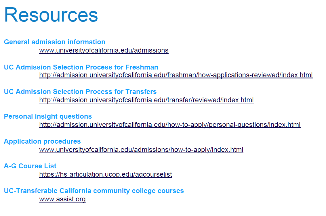 UC Resources List