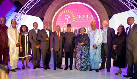 From left to right: Mr. Joachim Adenusi, Dr. Bala Magaji, Miss Yemisi Soile, Mr. Osaro Eghobamien Board Member, Mr. Soji Apampa, Dr. Christopher Kolade, His Excellency, Prof. Yemi Osinbajo SAN GCON, Dr. Idiat Adebule, Deputy Lagos State Governor, Mr. Opeyemi Abagje, Mr. Nick Leeson, Mrs. Toki Mabogunje, Board Member, Dr. Kehinde Bolaji, UNDP Rep.