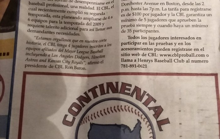 2009 CBL Tryout Spanish Newspaper Article - Continental