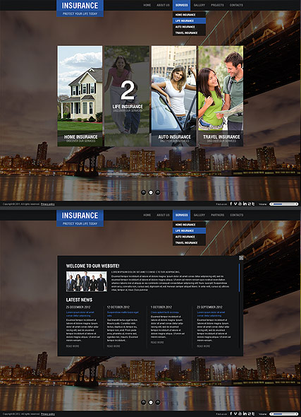 The menu bar is at the top. Insurance Company Html5 Template Id 300111421