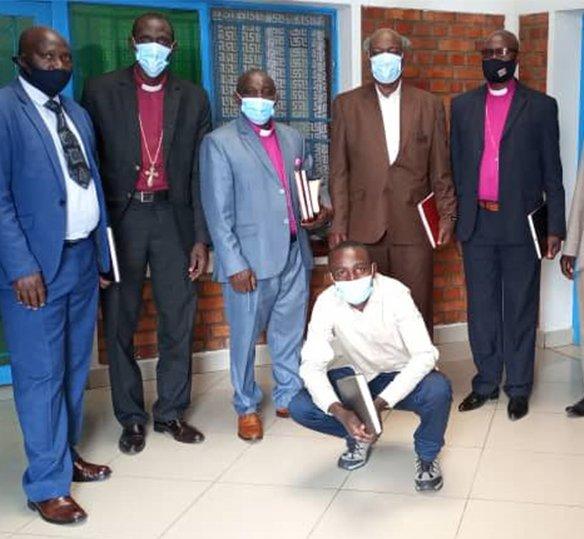 Photo of Rwandan pastors wearing medical masks
