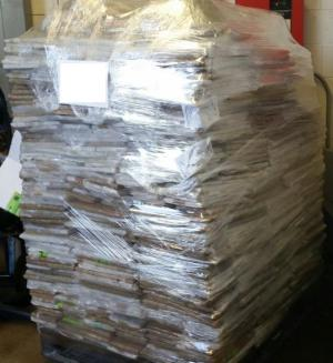 A pallet of packages containing 1,537 pounds of marijuana seized by CBP officers at Pharr International Bridge
