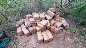 Packages containing more than 959 pounds of marijuana seized by Laredo Sector Border Patrol agents south of Zapata, Texas