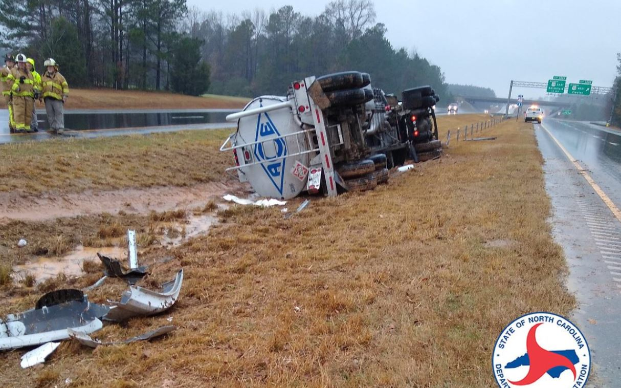 Flipped tanker truck closes US 70 for 6 hours in Johnston County