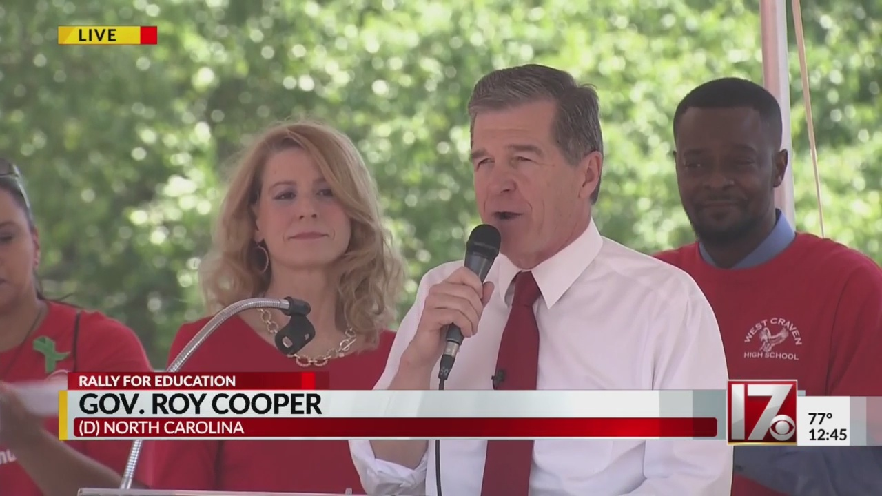 Gov. Roy Cooper speaks at education rally in downtown Raleigh