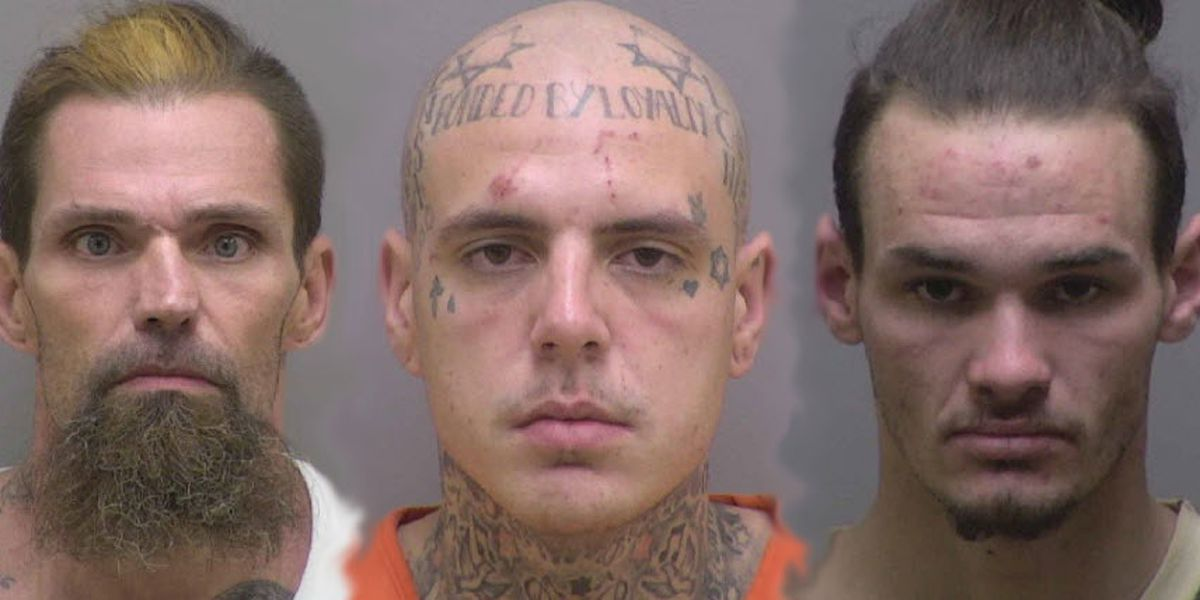 (From left) Larry Wade Stanley Jr., Dustin Logan Ensley, and Thomas Utah McDonald. (Courtesy of the Lincoln County Sheriff's Office via WBTV)