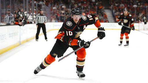 0d666d25e47 FILE – In this March 18, 2018, file photo, Anaheim Ducks' Corey Perry  skates during the second period of an NHL hockey game against the New Jersey  Devils, ...