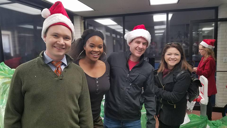 sarah cantey, nate harrington, leigh garner and hillary simon at youth first toy drive_349727