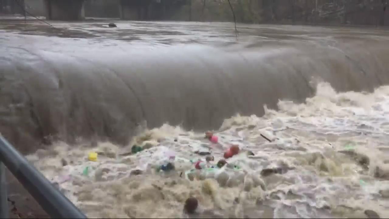 Flooding and debris at Cahaba Falls