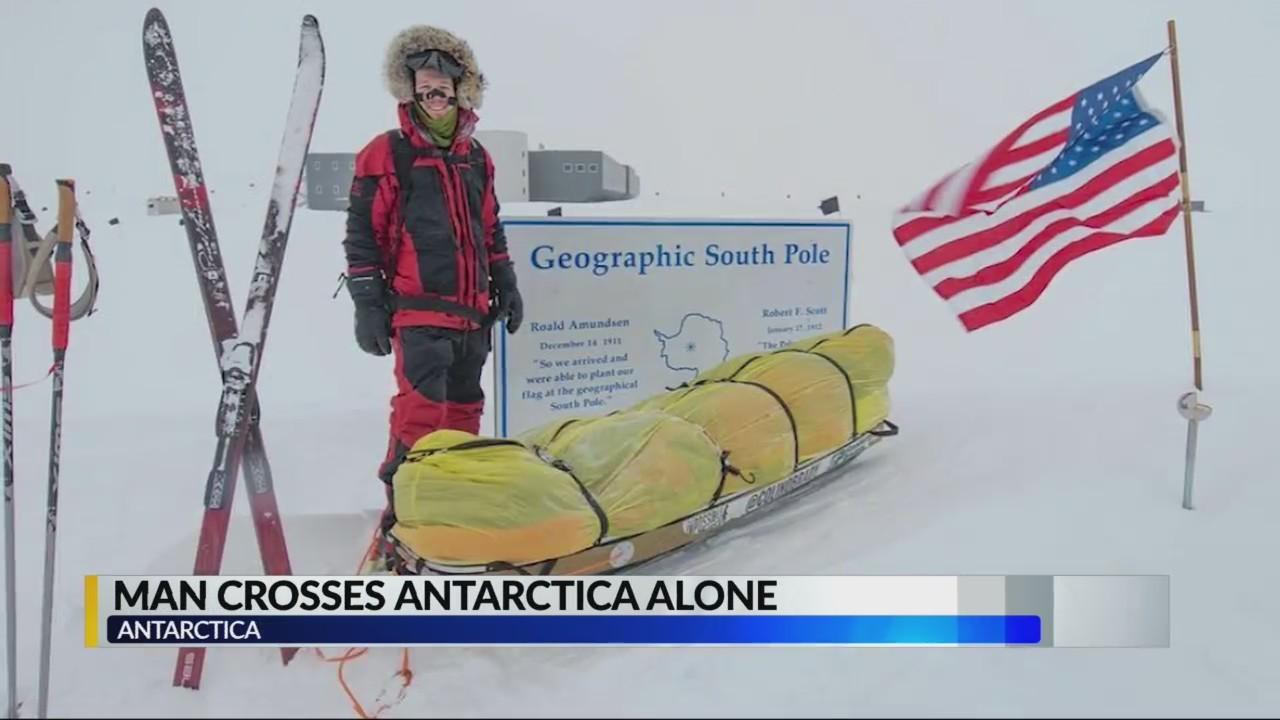 Man crosses Antarctica alone