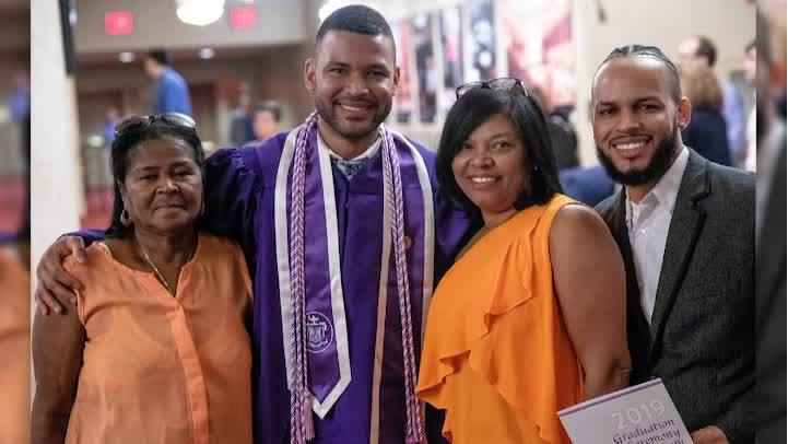 Nurse graduates from NYU after working there as a janitor