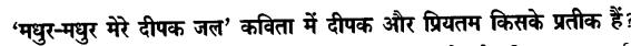 Chapter Wise Important Questions CBSE Class 10 Hindi B - मधुर-मधुर मेरे दीपक जल 31