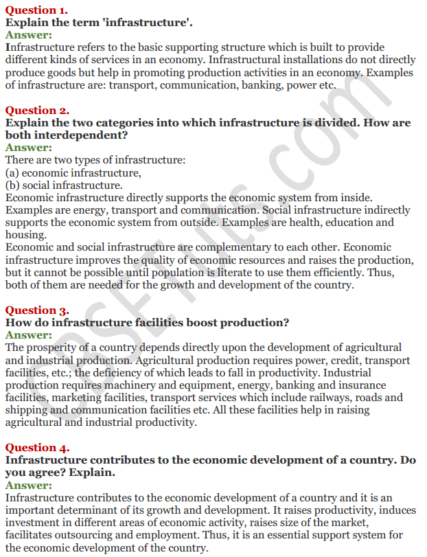 NCERT Solutions for Class 11 Chapter 8 Infrastructure 1