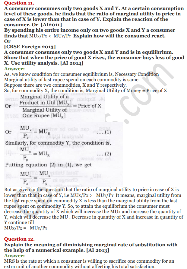 NCERT Solutions for Class 12 Micro Economics Chapter 2 Consumer Equilibrium 26