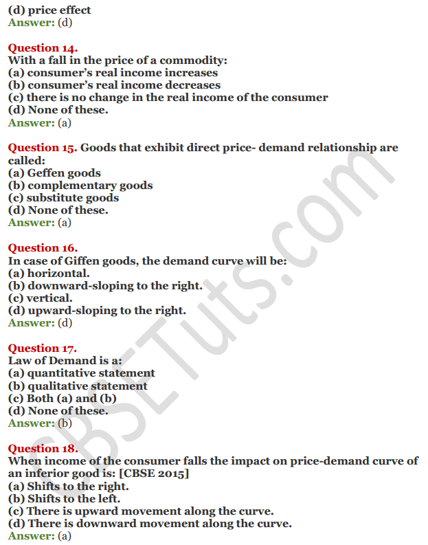 NCERT Solutions for Class 12 Micro Economics Chapter 3 Demand 14
