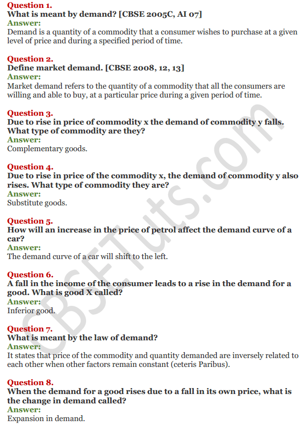 NCERT Solutions for Class 12 Micro Economics Chapter 3