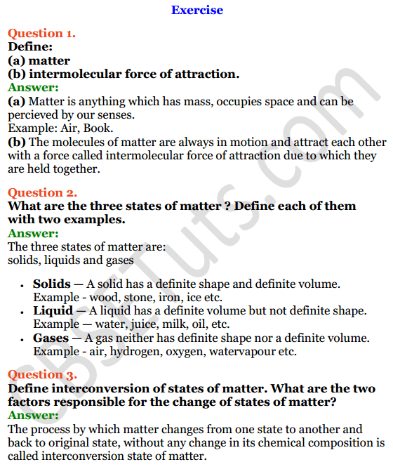 Selina Concise Chemistry Class 8 ICSE Solutions Chapter 1 Matter 1