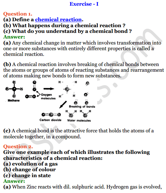 Selina Concise Chemistry Class 8 ICSE Solutions Chapter 6 Chemical Reactions 1
