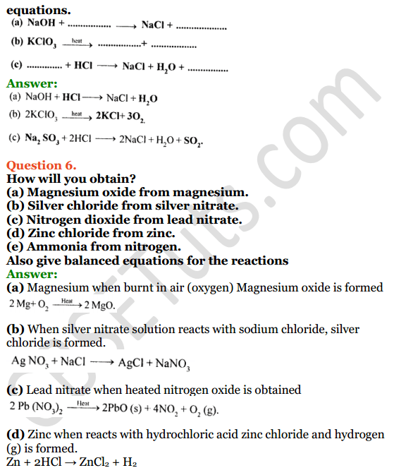 Selina Concise Chemistry Class 8 ICSE Solutions Chapter 6 Chemical Reactions 11