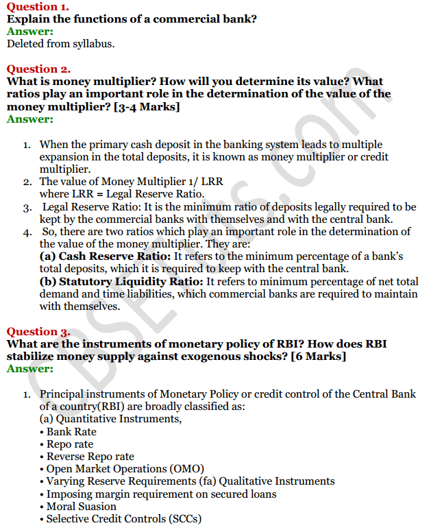 NCERT Solutions for Class 12 Macro Economics Chapter 4 Banking 1