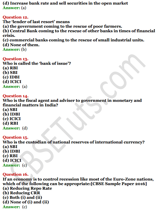 NCERT Solutions for Class 12 Macro Economics Chapter 4 Banking 14