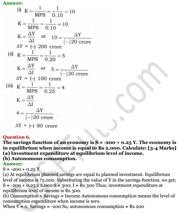 NCERT Solutions for Class 12 Macro Economics Chapter 6 National Income Determination and Multiplier 33