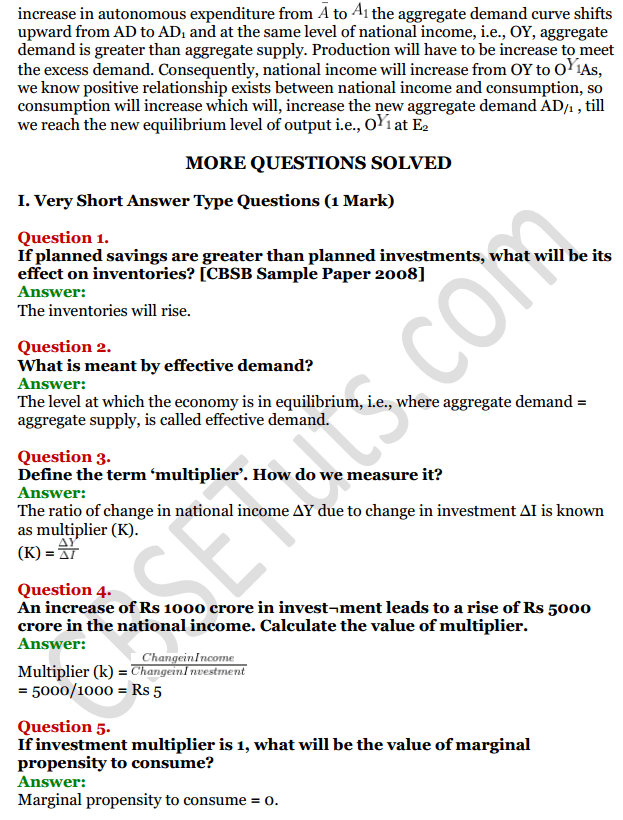 NCERT Solutions for Class 12 Macro Economics Chapter 6 National Income Determination and Multiplier 4