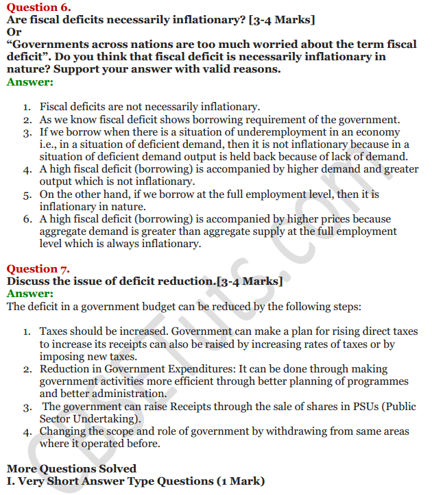 NCERT Solutions for Class 12 Macro Economics Chapter 8 Government Budget and the Economy 4