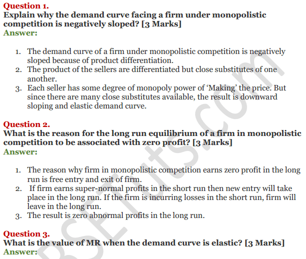 NCERT Solutions for Class 12 Micro Economics Chapter 11 Non-Competitive Market 1