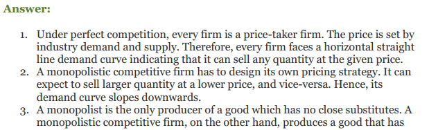 NCERT Solutions for Class 12 Micro Economics Chapter 11 Non-Competitive Market 12