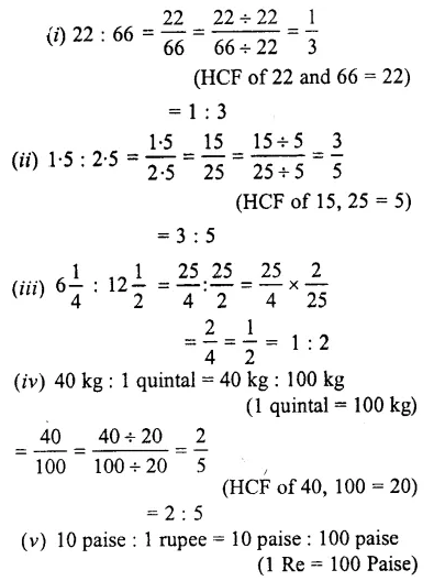 Selina Concise Mathematics Class 7 ICSE Solutions Chapter 6 Ratio and Proportion (Including Sharing in a Ratio) Ex 6A 1