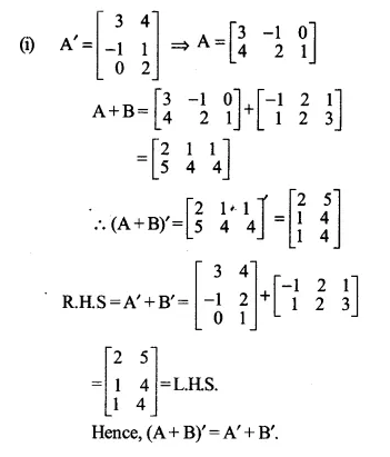 NCERT Solutions for Class 12 Maths Chapter 3 Matrices Ex 3.3 Q3.1