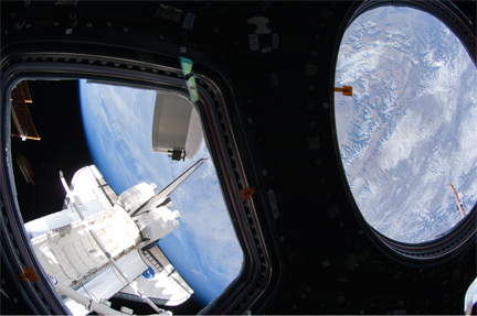 A view of shuttle Endeavour before undocking from the