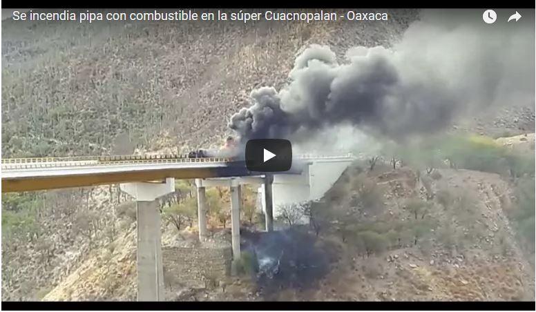 Cierran la autopista Cuacnopalan-Oaxaca por explosión de pipa