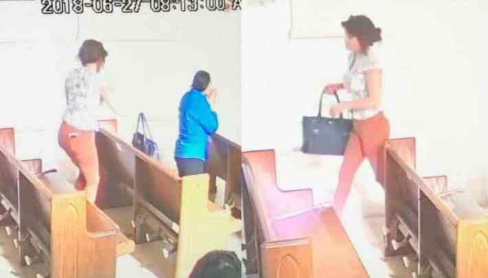Cámaras de seguridad captan a una mujer robando un bolso en una iglesia