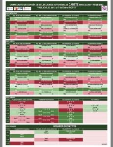 Calendario Cadete 2018
