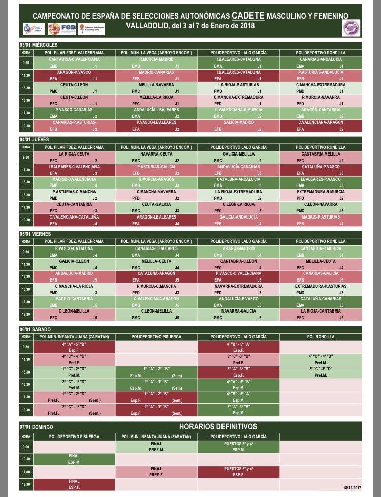 Calendario Cadete